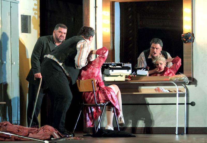 Backstage fury: Tonio, Canio, Nedda